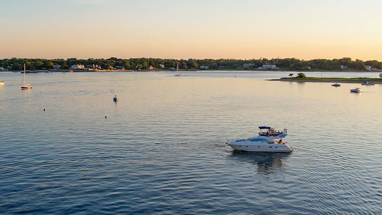 Arial view of client entertainment boat tour on private yacht in long island